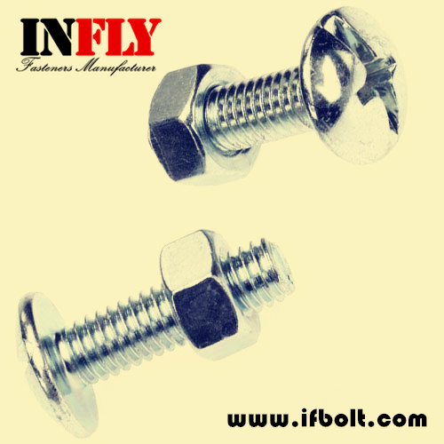 NFE 25129 Roofing Bolt-mushroom head with slot machine screw
