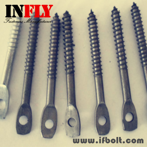 Press flat head wood screw with hole