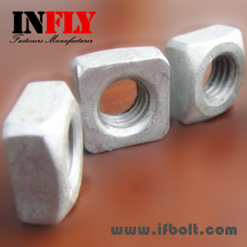 US Square Nut in stock- ANSI B18.2.2-inch nut Zinc H.D.G